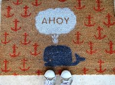 DIY Easy Doormat with Tutorial here: http://fellowcreatives.com/2011/03/21/design-throwdown/