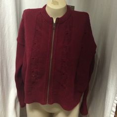"""New NWT Anthropologie boxy chunky knit cardigan Burgundy chunky Anthro sweater w brass zipper front new with tags sz m. Measures 27"""" across front Anthropologie Sweaters Cardigans"""