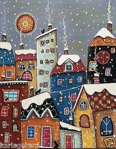 Gingerbread houses of the artist Karla Gerard - Fair . - Gingerbread houses of the artist Karla Gerard – Fair Masters – handmade, handmade - Decoupage Vintage, Karla Gerard, Art Fantaisiste, Winter Cat, Fall Winter, Arte Popular, Naive Art, Whimsical Art, Christmas Art