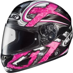 HJC Women's CL-16 Shock Helmet. Pink is on the list. Who says I can't accessorize with 3 helmets? Pink Motorcycle Helmet, Womens Motorcycle Helmets, Female Motorcycle Riders, Racing Helmets, Motorcycle Outfit, Motorcycle Accessories, Pink Helmet, Helmet Paint, Riding Gear
