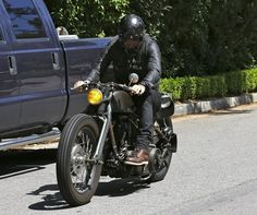 British soccer star David Beckham spotted leaving his house in Los Angeles, California on his motorcycle on April 7, 2014.