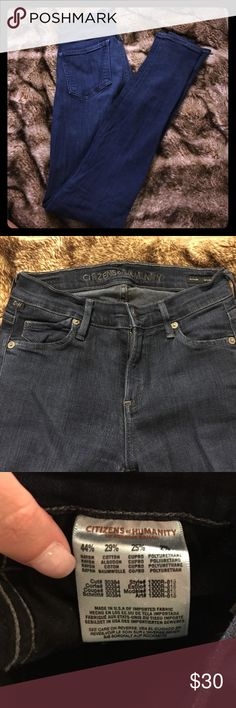 Citizens of Humanity Avedon Slick skinny leg jeans These are great skinny jeans but too small for me now. In the last photo I'm pointing at a spot where I some liquid super glue fell and it made the area slightly darker. However these jeans are still amazing and I lowered the price because of the small stain Citizens of Humanity Jeans Skinny