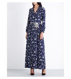 TOMMY HILFIGER Tommy x Gigi compass-print silk maxi dress. #tommyhilfiger #cloth #dresses