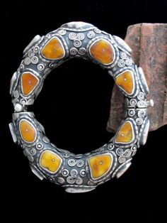 Tibetan Bracelet - Real Amber and Silver. |  Although original source stated nearly 100 yrs old, it is more than likely to be a contemporary piece.