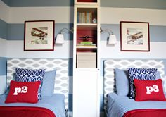 Bedroom Upholstered Headboards, from Ikea bed to Upholstered! We have this bed, so I may keep it after all and do this! Big Boy Bedrooms, Kids Bedroom, Bedroom Decor, Bedroom Ideas, Design Bedroom, Kids Rooms, Nursery Ideas, Striped Walls, New Beds