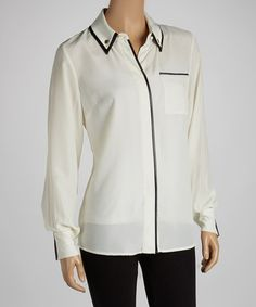 Take a look at this Ivory & Black Contrast Button-Up by eci New York on #zulily today!
