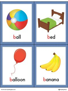 Letter B Words And Pictures Printable Cards: Ball, Bed, Balloon, Banana (Color) Worksheets Phonics Flashcards, Flashcards For Kids, Alphabet Phonics, Alphabet Cards, Picture Letters, Picture Cards, Baby Flash Cards, Alphabet Pictures, Word Pictures