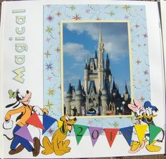 Mickey and Fonts Cartridge - Cute disney layout! Disney Scrapbook Pages, Scrapbooking Layouts, Mickey Font, Disney Pixar, Walt Disney, Disney Crafts, Mickey And Friends, Cute Disney, Disney Trips