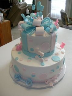 Baby Shower Cake For Twins Twin Boy And Girl Cupcakes