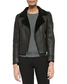 Elie Tahari Mae Leather Zip Jacket W/ Shearling Fur Lapels