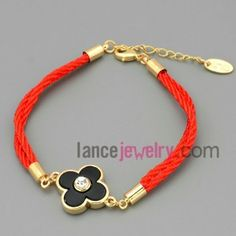 Cute flower model & rhinestone chain link bracelet in Chinese Red