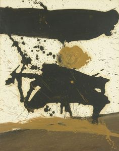 thunderstruck9: Robert Motherwell (American, 1915-1991), In Black, with Yellow Ochre, 1960. Oil on paper laid down on canvas, 28½ x 22½ in.