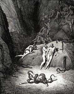 """Gustave Doré - Illustration de """"La Divine Comédie"""" de Dante Alighieri - L'Enfer, Chant 25, lignes 41-64."""