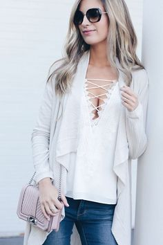 fall-transition-outfit-lace-up-white-cami-under-cardigan-on-pinterestingplans