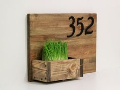 House Numbers Sign Planter box Rustic Address by CommonGift