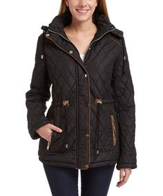 Look what I found on #zulily! Black Quilted Hooded Coat #zulilyfinds