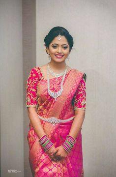 Latest blouse designs for pattu sarees - bride's essentials Wedding Saree Blouse Designs, Half Saree Designs, Pattu Saree Blouse Designs, Silk Saree Blouse Designs, Fancy Blouse Designs, Latest Blouse Neck Designs, South Indian Blouse Designs, Designer Sarees Wedding, Wedding Sarees