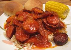 Louisiana Spicy Red Gravy and Sausage Creole Recipes, Cajun Recipes, Sausage Recipes, Pork Recipes, Cooking Recipes, Recipies, Smoker Recipes, Fast Recipes, Cooking Tips