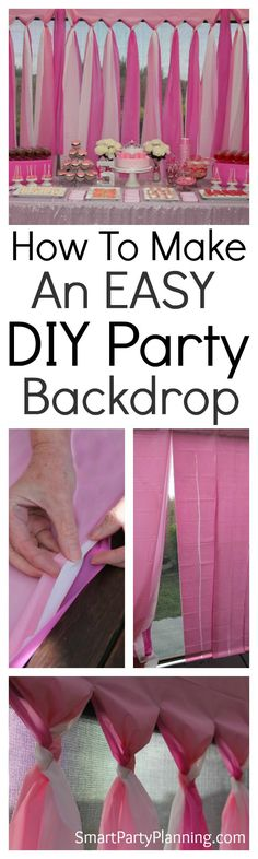 The easiest DIY party backdrop. This is a cheap and easy backdrop that can be prepared for an outdoor or indoor party. Made using budget plastic tablecloths, it can be prepared the day before the party saving you time on the day. Style with colors according to the birthday party theme and it will look amazing every single time. via @https://au.pinterest.com/smartpartyplan/