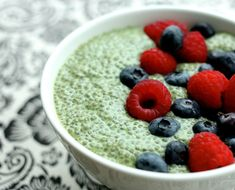 {matcha green tea #breakfast pudding} with almond milk, agave nectar or maple syrup, vanilla extract, chia seeds, blueberries and raspberries. #brunch