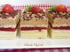 Smaki ogrodu: TRUSKAWKOWY 3 BIT - CIASTO BEZ PIECZENIA Mini Cakes, Tiramisu, Recipies, Cheesecake, Cooking Recipes, Dishes, Chocolate, Baking, Ethnic Recipes