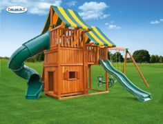 The Sky #4 is an amazing swing set, complete with two clubhouses, a spiral tube slide, a wave slide and a bottom playhouse. There's also a  huge rock-climbing wall, a steel rung access ladder and a three-position swing beam with two sling swings and a horse glider for two!