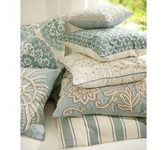 Aqua, turquoise, cream & beige throw pillows   Pottery Barn