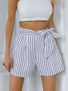 ((Affiliate Link)) Description Style:	Casual Color:	White Pattern Type:	Striped Details:	Pleated, Zipper, Tie Front Type:	Wide Leg Season:	Summer Composition:	100% Cotton Material:	Cotton Fabric:	Non-stretch Sheer:	No Fit Type:	Regular Waist Type:	High Waist Closure Type:	Zipper Fly Belt:	No