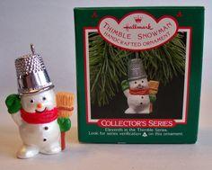 """Hallmark Keepsake Ornament, Thimble Series #11, """"Thimble Snowman"""", 1988."""
