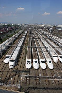 Shinkansen rail yard, Osaka, Japan 鳥飼車両基地