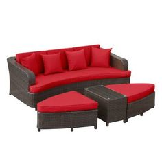 Modway Monterey 4 Piece Deep Seating Group with Cushions II Color: Red