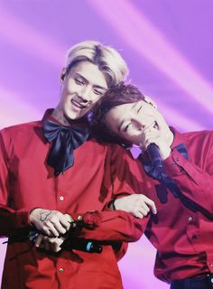 My ultimate bias Chen and the stupid little maknae who's currently ruining my bias list (AKA Sehun...yehet)