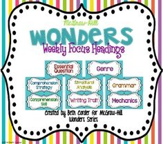 This *freebie* packet of headings was designed to be the anchor pieces of your bulletin board for the McGraw-Hill Wonders Weekly Focus…