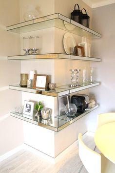 mirrored shelves, grey walls, white, vintage design furniture