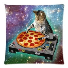 Umak Custom Food Funny Creative Hipster DJ Cat Pizza Cat Galaxy Pizza Cat Design Zippered pillowcase DIY Pillowslip Decorate Sofa Bed Pillow case cover(18*18 Two Sides) Gift For Fans Children Valentine's Day Umak http://smile.amazon.com/dp/B00SOF2W86/ref=cm_sw_r_pi_dp_weIPwb0930ZBS