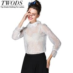 S- 5xl Sexy See Through  White Lace Blouse Long Sleeve Mock Neck    Basic Blusas Y Camisas Mujer
