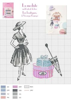 0 point de croix femme mode vintage - cross stitch fashion lady