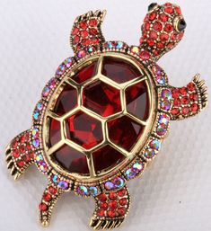 Gold red crystal turtle tortoise stretch ring 5 JEWELRY pin brooch pendant AVBL #Cocktail