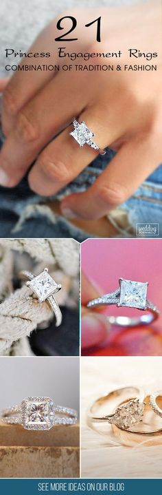 21 Breathtaking Princess Cut Engagement Rings ❤️ Princess cut engagement rings are combination of tradition and fashion. Choose princess cut diamond rings you will get unique, modern shape and amazing sparkling appearance for lower price. See more: http://www.weddingforward.com/princess-cut-engagement-rings/ #wedding #engagement #rings #princess