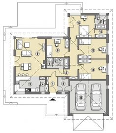Projekt domu SD Acapulco A CE - DOM - gotowy koszt budowy 4 Bedroom House Plans, Modern House Design, Future House, Planer, Sweet Home, Floor Plans, Layout, Construction, How To Plan