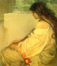 Girl with loose hair and tulips - Alphonse Maria Mucha