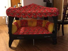 Pack N Play Fort Mickey Mouse theme awesome for reading naps and so on Baby Pack And Play, Pack N Play, Diy Toddler Bed, Play Beds, Baby Life Hacks, Play Fort, Mickey Mouse, Baby Playroom, Baby Room