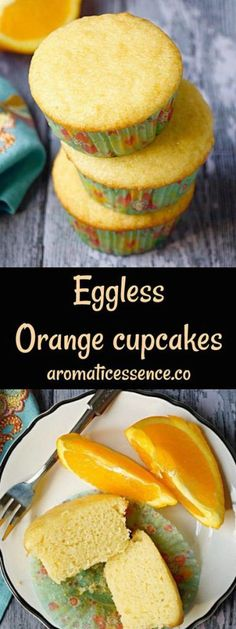 Step-by-step recipe with pictures to make eggless orange cupcakes. How to make eggless orange cupcakes. How to make orange cupcakes without eggs. Eggless Desserts, Eggless Recipes, Eggless Baking, Baking Recipes, Eggless Muffins, Baking Snacks, Baking Muffins, Egg Free Recipes, Fruit Recipes