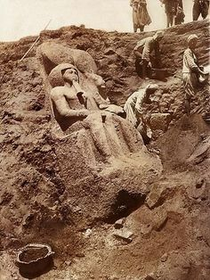 Discovery of the statue of Ramses II, 1930 Temple of Mut, Karnak Temple Complex, Egypt