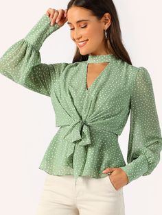 SHEIN Green Choker Neck V-cut Knot Front Bishop Sleeve Peplum Top Blouse Women Elegant Spring Vintage Office Lady Blouses Spring Shirts, Spring Tops, Blush Formal Dresses, Western Tops, Moda Casual, Neck Choker, Sleeveless Hoodie, Cardigan Outfits, Bishop Sleeve