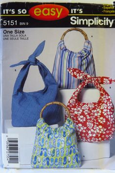 Simplicity 5151   Bag A 1/2 yd Bag B 1-5/8 yd  Broadcloth, calico, chambray, chintz, lightweight denim, toile fabrics