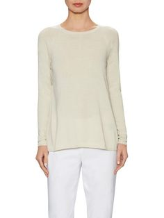Cotton Contrast Back Pleat Sweater by Lafayette 148 New York at Gilt