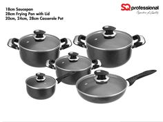 5pc NON-STICK COOKWARE GIFT SET - non-stick, easy clean coating (Dyflon P.T.E.F titanium tri-coating), allowing for low-fat cooking and even heat conductivity / 18/10 grade stainless steel riveted handles / tempered, self-basting glass lid with vent, for easy viewing. Suitable for use on all heat sources except induction and oven. Set contains: 18cm saucepan / 20-24-28cm casseroles /  24cm frying pan / 5 lids