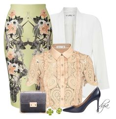 """Miss Selfridge skirt and blazer"" by dgia ❤ liked on Polyvore featuring Miss Selfridge, self-portrait and Halston Heritage"