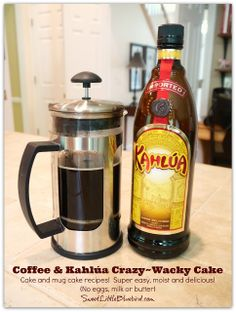 Coffee & Kahlúa Crazy/Wacky Cake!  (no eggs, milk, butter or bowls)  So simple.  So good.
